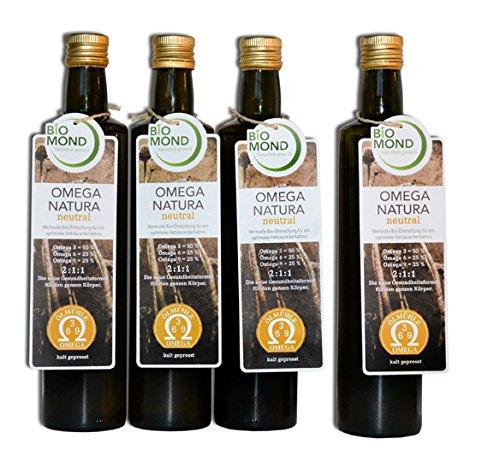 Omega 3 6 9 Natura Speise Öl von BIOMOND/4 x 500 ml/Aktion 3 PLUS 1 GRATIS/ungefiltert/frisch gepresst/aus 6 BIO Speiseöle
