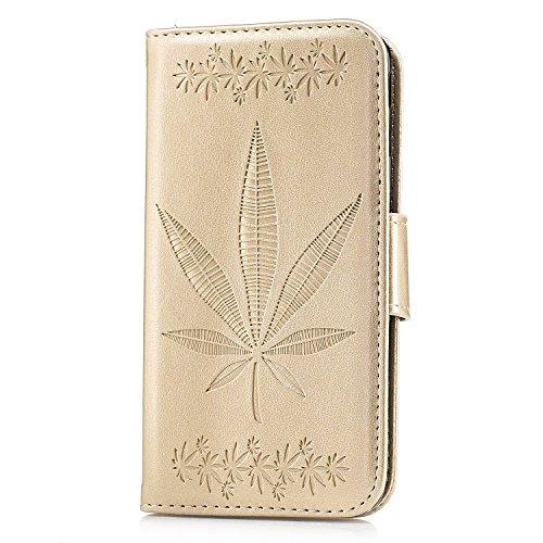 Für Samsung Galaxy J5 Prime On5 2016 Case Cover, Premium Soft TPU / PU Leder geprägt Ahorn Muster Brieftasche Fall mit Halter & Cash Card Slots & Lanyard ( Color : Rose Gold ) Gold