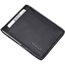 Kreditkartenetui mit GELDKLAMMER und aus Echt-Lede,Kreditkartenhalter mit RFID Schutz, Slim Wallet mit Geldscheinklammer,Ausweisetui mit Geldclip,Geldspange,Portemonnaie mit Dollarclip,Minigeldböse