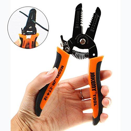 EbuyChX JAKEMY JM - CT4-12 Wire Cutter Stripper Clamp 7.0 inch Plier Hardwar Black and Orange
