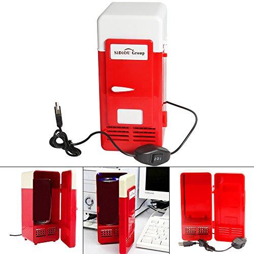 Sidiou Group Handliche Mini-USB-Kühlschrank Cooler Gadget Beverage Getränkedosen Kühler/Wärmer Kühlschrank rot -