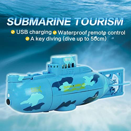 Daxoon Mini RC Racing Submarine Boat télécommandé en sous-Marine, Jouet à Eau pour Fille Bleu