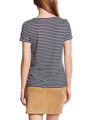 TOM TAILOR Denim Damen T-Shirt Striped Shirt W. Placket Blau (total eclipse blue 6724)