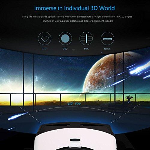 3D VR Headset, LESHP Bluetooth Universal 3D VR Box Brille Einstellbar virtuelle Realität Brille Video Movie Game Brille Virtual 3D Reality Glasses VR World Head Mounted für 3D Filme und Spiele
