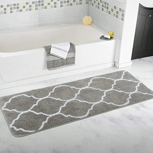 Homcomoda Rutschfeste Badematte Mikrofaser Badteppiche Absorbent Badvorleger für Badezimmer Öko-Tex 100 Zertifiziert Duschvorleger Küchenbodenmatten 45x120 cm (Grau)