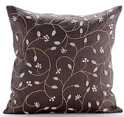 Perlen Aroma - 40x40 cm Platz Dekorative Wurf-Kissen-Abdeckung Brown Leinen Kissenbezug mit Jute Cord & Pearl Stickerei (Dekorative Kissen-abdeckung Brown)