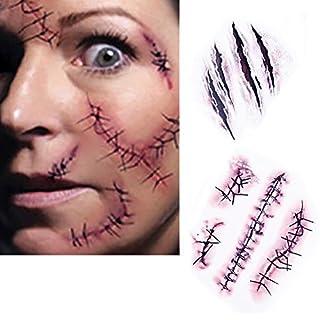 Zombie-Narben Tattoos mit gefälschten Schorf Blut Sew Kostüm Make-up-Wasser-Beweis Temporary Scar für Owen Packung mit 10 Stück