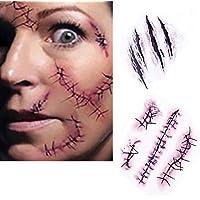 SA - Tatuaggi adesivi temporanei per costume da Halloween da zombie con cicatrici, croste e sangue