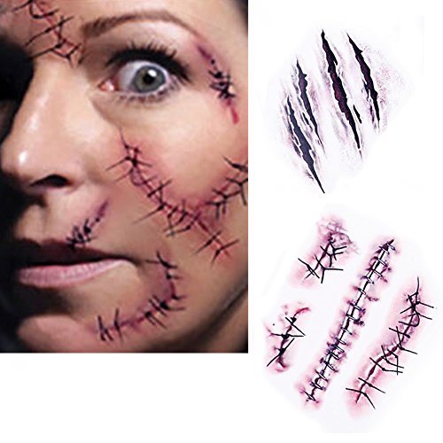 (Horror Tattoo Aufkleber, 10Pcs Realistische Wasserdichte Temporäre Tätowierung Aufkleber Fake Bloody Wunde Stich Narbe für Halloween Masquerade Streich Make-up Requisiten)
