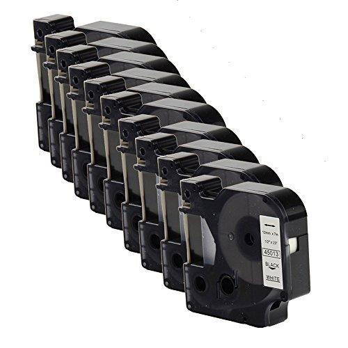 OYAT® kompatibel zu 12 mm x 7 m Dymo 45013 Etikettenband Schwarz auf Weiß für Dymo-Labelmanager (10x Schwarz auf Weiß)