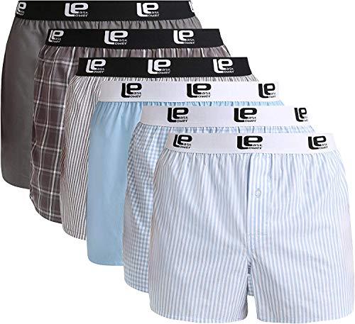 Lower East Herren American Boxershorts mit Gummibund, 6er-Pack, Mehrfarbig, M