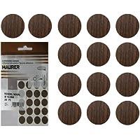 Maurer 5440116 Tapatornillos Adhesivos Nogal (Blister 20 Unidades), Set Piezas
