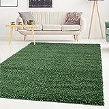 Shaggy-Teppich, Flauschiger Hochflor Wohn-Teppich, Einfarbig/Uni in Grün für Wohnzimmer, Schlafzimmmer, Kinderzimmer, Esszimmer, Größe: Läufer 80 x 150 cm