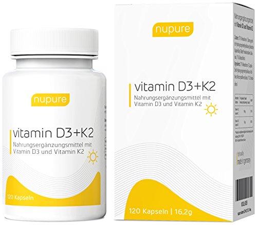 Nupure Vitamin D3 + K2 Menaquinon MK7, 120 Hochkonzentrierte Mini Kapseln Mit 1000 IE Pro Tag, 4 Monatsvorrat, hochwertiges Vitamin