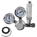 lovinn CO2-Regulator für Aquarien CO2Blasenzähler Dekompression Tisch Dual Luftdruckprüfer und Magnetventil enthalten Premium 3Ft Tube & 2Saugnapf