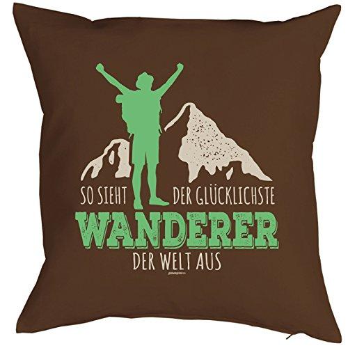 (So sieht der glücklichste Wanderer der Welt aus - Kissen mit Füllung, Wandern Klettern Trekking Outdoor, Dekokissen für Bergfreunde und Bergsteiger)