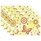 SENNSEE Spring Butterfly Florals Tisch-Sets Home Plate Matte für Esstisch hitzebeständig Küche Tisch Matte Kinder 30,5x 45,7cm, Polyester, Mehrfarbig, 12x18 x1 Piece
