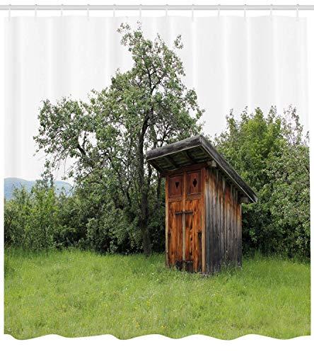Nebengebäude Duschvorhang aus Holz kleine Hütte Scheune Hütte in der Natur Wald Bild Stoff Badezimmer Dekor Set mit180CM Langen Wald grün hellgrün und braun