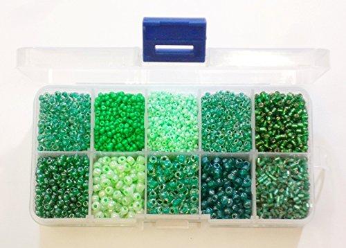 200g ROCAILLES PERLEN STIFTPERLEN Grün GLASPERLEN 2 3 4 6 mm mit PERLENBOX AM2