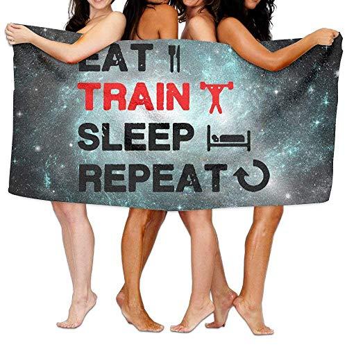 Yuerb Strandtücher Handtücher Eat Train Sleep Repeat Gym Custom Beach Bath Towels Beach Bath Towel Beach Towel Beach Towels 31x51 Inches