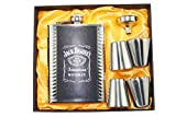 Karp Jack Daniel's 8oz PU Leather Wrapped Stainless Steel 304 Liquor Hip Flask / Alcoholic Beverage Holder 4 Shot Glass / 1 Funnel Set- Style 5