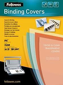 Fellowes  5380001 - Pack de 25 Couvertures de reliure PVC A4 180 Microns  - Transparent