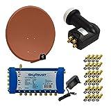SkyRevolt PremiumX Digital HD Sat Anlage 100 cm Antenne ALU Ziegelrot Multischalter 5/8 Multiswitch Sat-Verteiler Quattro LNB HDTV + 24x F-Stecker