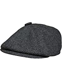 Mens Herringbone Baker Boy Cap Peaked Newsboy Hat Gatsby Flat Cap Button Top Hat