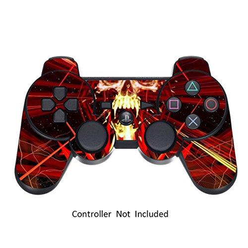 Skins für PS3 PlayStation 3 Controller Decals Sony Dualshock 3 Konsolen Remote Wireless Controllers Skin Aufkleber - Skull Dark Red [Controller Nicht Enthalten] (Gold, Playstation 3 Controller)