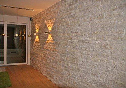 Naturstein Wand (Wohnrausch W3DC Travertin Crema 3D Wandverkleidung, hell- bis dunkelbeige)