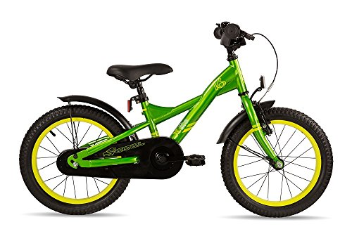 SCOOL Kinder XXlite Steel 16 Kinderfahrrad, Green/Yellow, Zoll