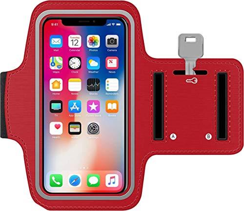 Sportarmband iPhone Xr neopren wasserdicht Anti-Rutsch Sport Armband iPhone Xr Running Armband iPhone Xr mit Tasche für Kabel Karten Schlüssel (Rot) -