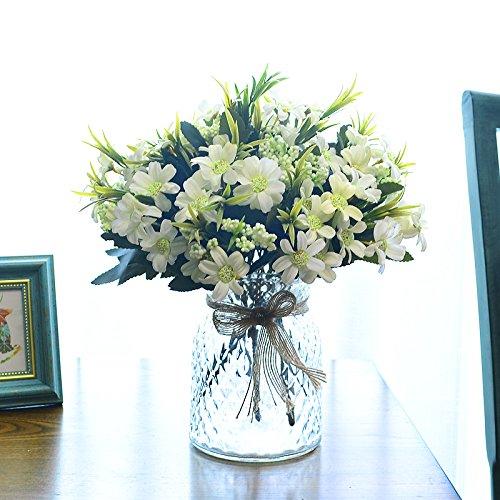 WANG-shunlida Simulation Blumenornamenten Set aus Keramik und Kunststoff Dekoration Blumen Topf Topfpflanzen ganze Blume Silk Flower False Blume Wohnzimmer, Milch Weiß 7-Sterne weiss Kolben (Weiß Kolben)