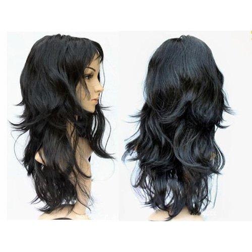 Gleader Parrucca nera lunga e ondulata da