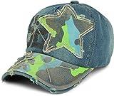 styleBREAKER 6-Panel Vintage Jeans Cap mit Camouflage Stern und aufgedruckter Nummer 52, Used Look, Baseball Cap, verstellbar, Unisex 04023053, Farbe:Blau/Neongrün