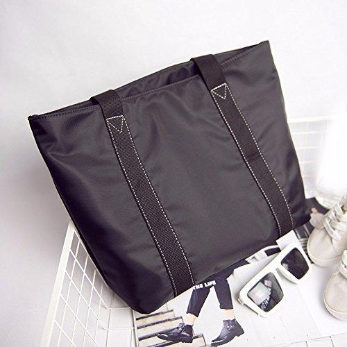 GUMO-Borsa da spiaggia, borsa di tela, impermeabile, nylon borsa a tracolla, oxford tessuto, semplice, casual, borsetta,nero Black