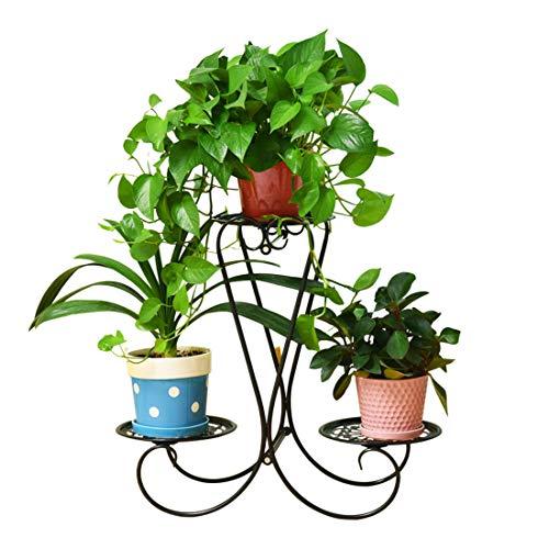 Dittzz 3 Töpf Blumenständer Metall Blumentreppe Pflanzenständer, Dekoration in Haus/Garten/Terrasse/Flur stufenförmig Blumenregal (Schwarz)