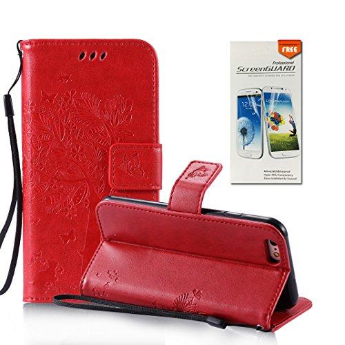 OuDu Impressum Muster Hülle für iPhone 6 PLUS/6S PLUS PU Leder Handyhülle Klapp Buch-Stil Ledertasche Baum&Schmetterling Schale Einzigartige Entwurf Tasche Kompletter Schutzhülle Flip Wallet Case Sili Rot