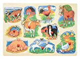PUZZLE m. GRIFFE STECKPUZZLE 9 tlg. FARM TIERE HOLZ Holzspielzeug