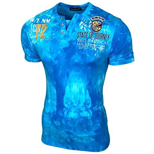 Batik-print Top (Herren Vintage Verwaschen Kurzarm T-Shirt Slim Fit Design Fashion Top Print Batik Waschung Shirt 2335, Größe:L, Farbe:Türkis)