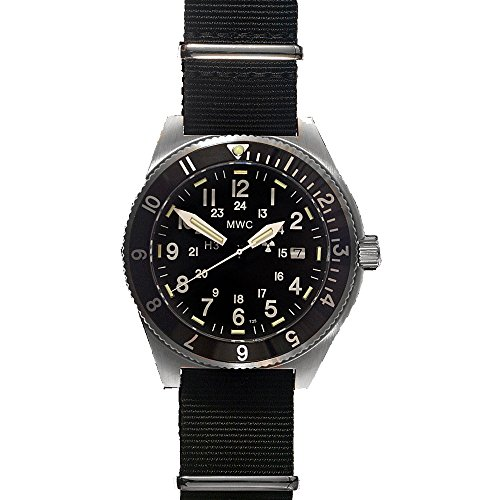 4a176c82274 MWC Navigator Swiss Quartz Stainless Steel Black GMT Tritium 300m Date  Fabric NATO Military Men s Watch