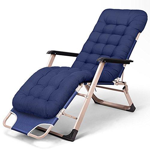 Nwn Loungesessel Recliners Klapp Einzelbett Büro Siesta Chair mit Wabenpad Baumwolle (Farbe : Navy blau) - Stuhl Computer Navy