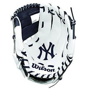 WILSON A200 Mlb Nyy Team Glove Handschuhe, Schwarz/ Weiß, 10