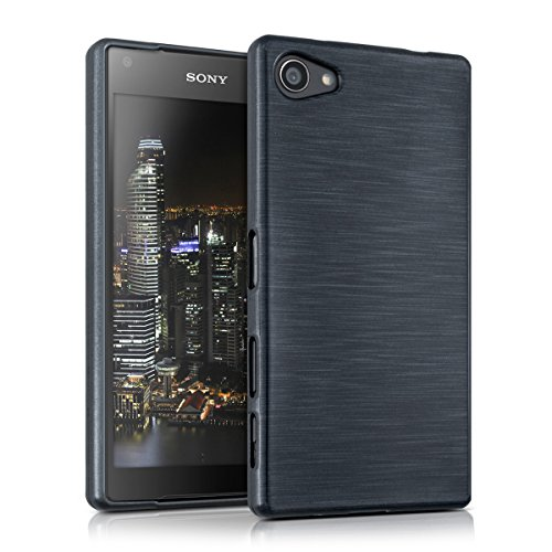 kwmobile Hülle TPU Silikon Case für > Sony Xperia Z5 Compact < mit Brushed Aluminium Design - Handy Cover Schutzhülle in Anthrazit Transparent