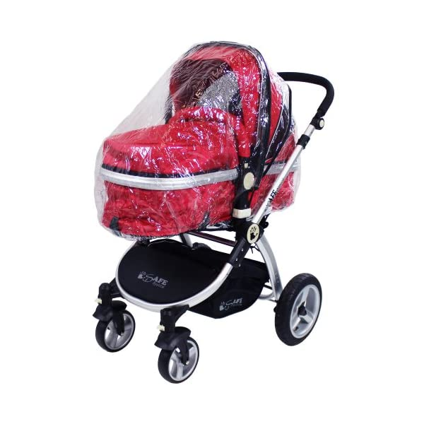 iSafe 2 in 1 Baby Pram System Complete (Red) iSafe 2 in 1 Stroller / Pram Extremely Easy Conversion To A Full Size Carrycot For Unrivalled Comfort Complete With Boot Cover, Luxury Liner, 5 Point Harness, Raincover, Shopping Basket With Closed Ziped Top High Quality Rubber Inflatable Wheels With The Full All around Soft Suspension For That Perfect Unrivalled Ride 7