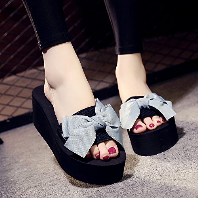 AWXJX Tongs Femme Femme Femme Chaussures eacute;t eacute; Pente talon haut fond eacute;pais eacute;pais avec Blanc US 38 EU 5 UK - B07CVZ7ZH2 - 3fa133