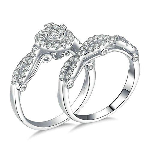 SonMo 925 Sterling Silber Ring Hochzeit Ring Eheringe Heiratsantrag Ring Solitär Ring Silber Weiß Ringe mit Diamant Zirkonia Ringe Damen Größe 60 (19.1)