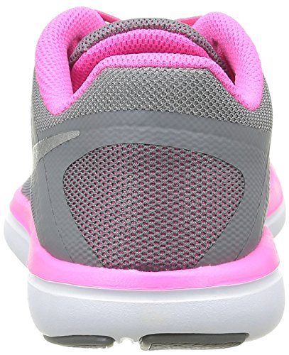 Nike Flex 2016 Rn (Gs), Entraînement de course fille Noir (Cool Grey/Metallic Silver Black Pink Blast)
