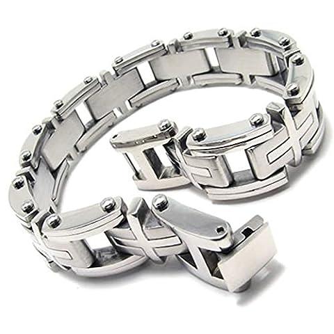 Adisaer Edelstahl Armband Herren Rechteck Kreuz Uhrenarmband Armreifen Silber Für Männer Lange 22.987CM Armbänder Punk