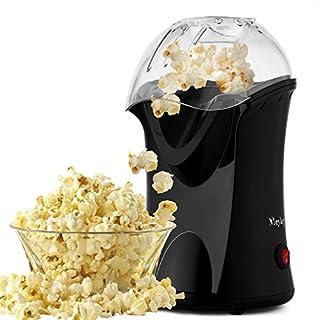 Professionelle Meykey Popcornmaschine für Zuhause zum selber machen, 1200W Heißluft Popcorn Maker, Öl ist nicht notwendig, Weites-Kaliber-Design mit Messbecher und abnehmbarem Deckel, Schwarz